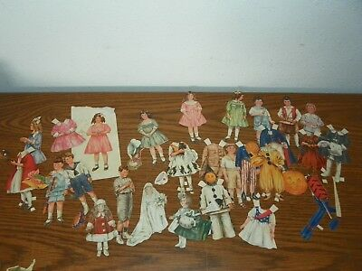 Vintage Lot Boys Girls Children Paper Dolls CUT SETS with Different Clothing