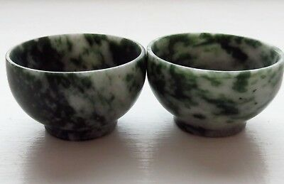 Matching Pair of Antique Chinese Green Jade Bowls H3cm/D5cm