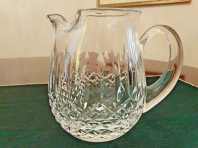 """Exquisite """"Lismore""""  Waterford Irish Crystal Beverage Pitcher With Ice Lip"""