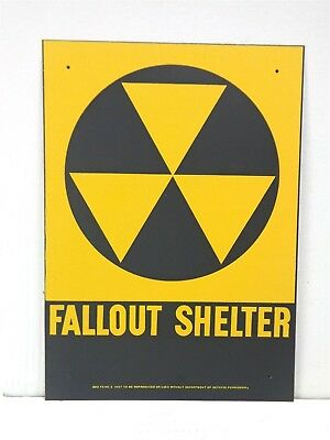 ORIGINAL 1950's Vintage Metal NUCLEAR FALLOUT SHELTER SIGN US Army FT McHenry!