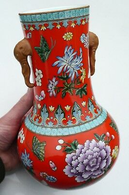 Fine Vintage Chinese Hand Painted PORCELAIN VASE Perfect Condition signed 28cm
