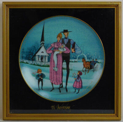"""Framed Collector Plate """"The Christening """" Anna Perenna Wall Art (14"""" x 14"""")"""