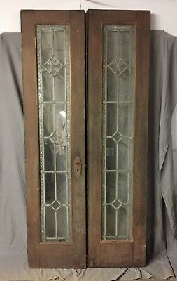 Pair Antique Double French Doors Leaded Glass Vintage 83X20 378-18C