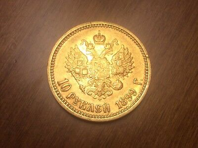 1899 Russian 10 Roubles Gold Coin @@ Must see @@ lot T3