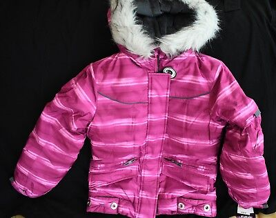girls london fog ski/snow coat size 7/8 NWT fascia/pink, faux fir collar