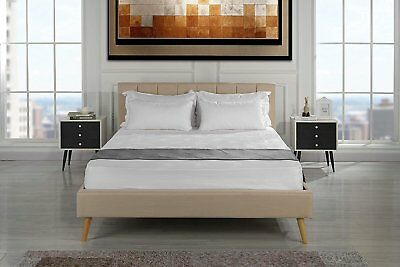 Vintage Style Bed Upholstered Bed Frame, Pleated Headboard, Slats (Queen, Beige)