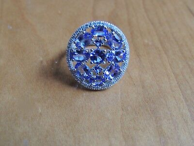 HSN Rarities Tanzanite White Zircon Sterling Silver Oval Cluster Ring Sz 7
