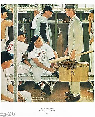"""Norman Rockwell baseball print """"THE ROOKIE"""" Boston Red Sox World Series Williams"""