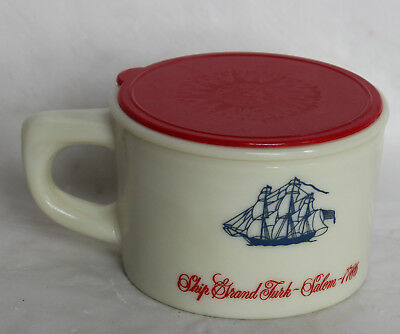 Vintage OLD SPICE Glass SHAVING MUG Cup with Red plastic Lid