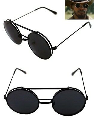 dc284d5a9d4f Men s Women s Round Shape Flip up Django Sunglasses and Clear Lenses Black  Lens