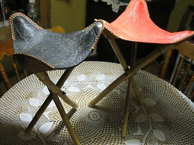 Pair Of Vintage Stools Tripod Mayan Bamboo Tooled Red Black Leather