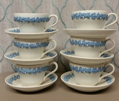 Lot of 6 Vintage Wedgwood Lavender Grape Border Embossed Queens Ware Tea Cup