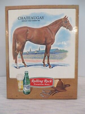Rolling Rock Beer Sign Chateaugay Kentucky Derby Horse Winner 1963 Vintage Nos