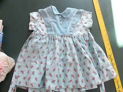 VINTAGE  BABY DRESS  young toddler blue with roses
