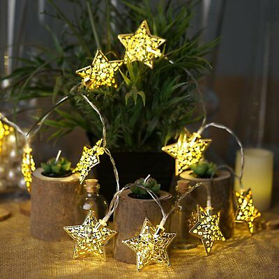 5 Feet Long Mini Battery Operate Christmas Tree Lights Gold Stars Home Decor