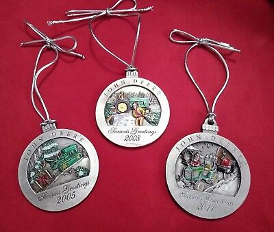 Lot 3 Official JOHN DEERE Pewter Christmas Tractor Ornaments 2005 '08 '11