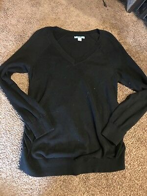 Womens Old Navy Black V-Neck Maternity Long Sleeve Pullover Sweater, Size L