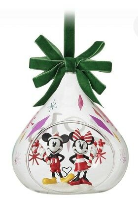 Genuine Disney Store Mickey and Minnie Mouse Holiday Glass Drop Ornament 2018