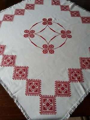 Vintage Hand Embroidered Cross Stitch Pattern Tablecloth Set