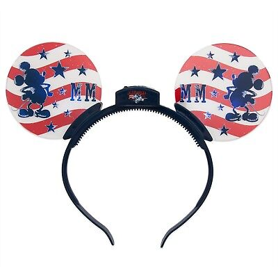 Disney Parks Exclusive Mickey Mouse Americana Glow Light Up Ears Headband NWT