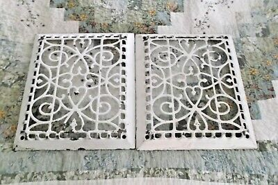 """Two Vintage Cast Iron Ornate Furnace Wall Grate Vent Each 12"""" x 14"""""""