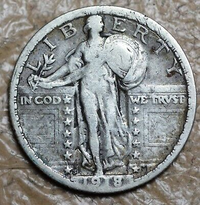 1918 S Standing Liberty Quarter Date Very Readable See Pictures
