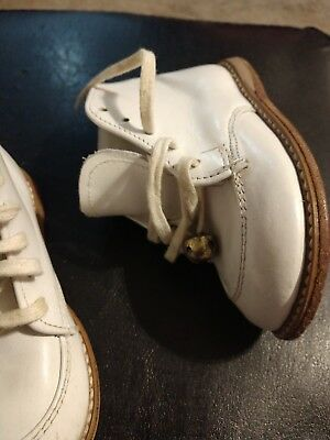 Vintage Hard  Leather Baby Shoes With Bells 1960 toddler size 4 Girl Boy antique