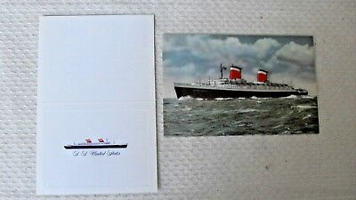 Original vintage post card SS UNITED STATES and WINE CARD, 1950's