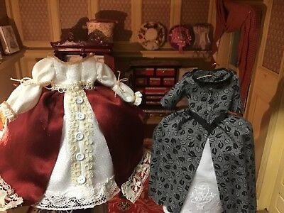 Dollhouse Miniature Dress Lot of 2- OOAK Handmade for Display 1/12 scale