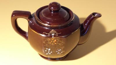 True Vintage Red Clay Brown Hand Painted Tea Pot Japan Redware Teapot Gold 1950s