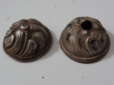 ANTIQUE MONGOLIAN HAND HAMMERED SILVER PLATED COPPER ORNAMENT DECOR 2 pc