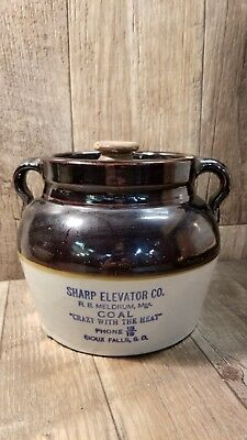 Vintage Sharp Elevator Co. Early Advertising Bean Crock Sioux Falls S. D.