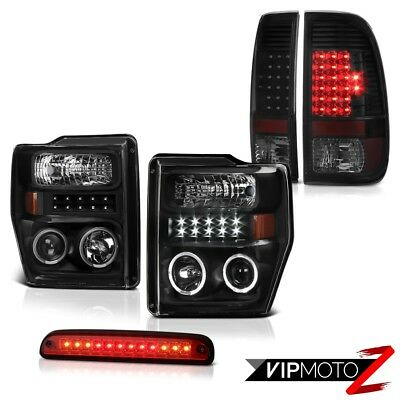 08 09 10 Ford F250 SD Black LED DRL Headlamps Philip SuperFlux Taillights High