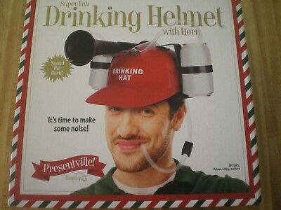 Drinking Helmet w Horn NEW by Wembley, Red, Plastic, Use w Cola or Beer, GIFT