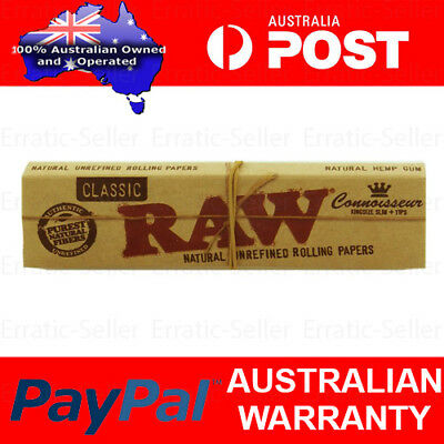 3x RAW CLASSIC CONNOISSEUR KINGSIZE SLIM PAPERS + TIPS - SMOKING TOBACCO ROLLING