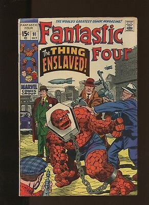 Fantastic Four 91 VG/FN 5.0 * 1 Book Lot * Marvel! The Thing-Enslaved! 1969