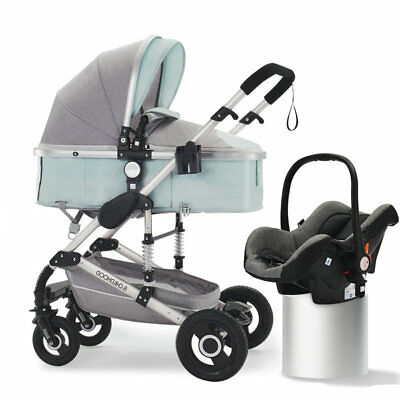 Luxury 3 in 1 Bassinet&Car Seat Foldable Baby Stroller High View Green Pushchair