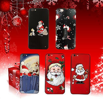 iPhone X Xs 8 7 6 6S Plus Case Cute Christmas Reindeer Santa Red Phone Covers