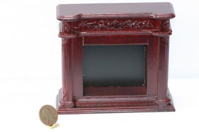Dollhouse Miniature 1:12 Scale Ornate Fireplace in Mahogany