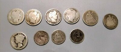 Lot Of Seated Liberty Half Dimes Barbara Dimes