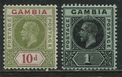 Gambia KGV 1912 10d and 1/ mint o.g.