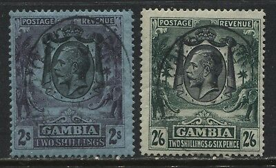 Gambia KGV 1922 2/ and 2/6d used