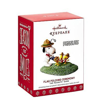 Hallmark, 2017 Keepsake Ornament, Peanuts, Snoopy, Flag Folding Ceremony, New!