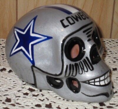 Nfl Football Dallas Cowboys Skull Helmet Ceramic Clay Figure