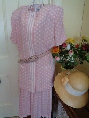 Vintage Pink & White With Spots Skirt & Top  By Classics By Leslie Fay
