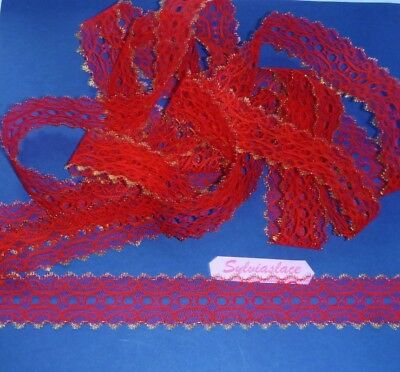 10 metres of Christmas  Eyelet   Lace   Red Edged with Gold Glitter  35 mm  Wide