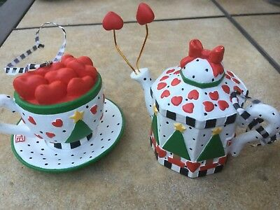 MARY ENGELBREIT Teapot Teacup Ornament hearts Holiday Christmas Collectible