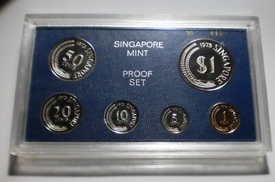 1973 SINGAPORE 6 Coin Set MINTAGE 1000 plastic case Proof set #015