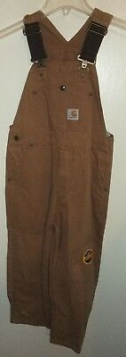 Carhartt for Kids Brown Canvas Bib Overalls Size 8 NWT