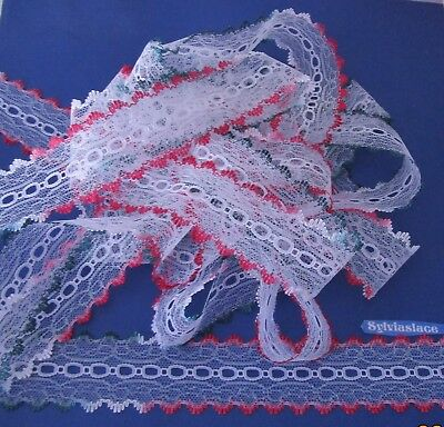10  metres  of Christmas   White  Red  & Green   Eyelet   Lace      40 mm   Wide
